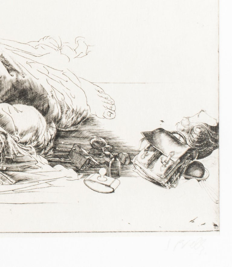 Femme Allongée / Lying Woman - Original Etching and Drypoint by J.P. Velly  - Contemporary Print by Jean Pierre Velly