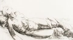 Femme Allongée / Lying Woman - Original Etching and Drypoint by J.P. Velly