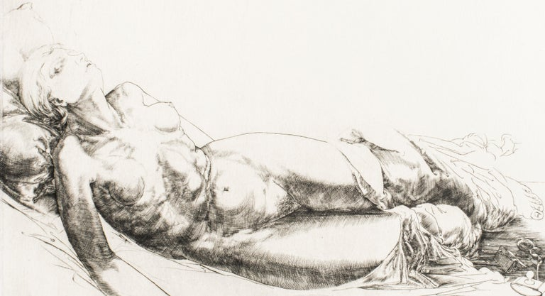 Jean Pierre Velly Print - Femme Allongée / Lying Woman - Original Etching and Drypoint by J.P. Velly