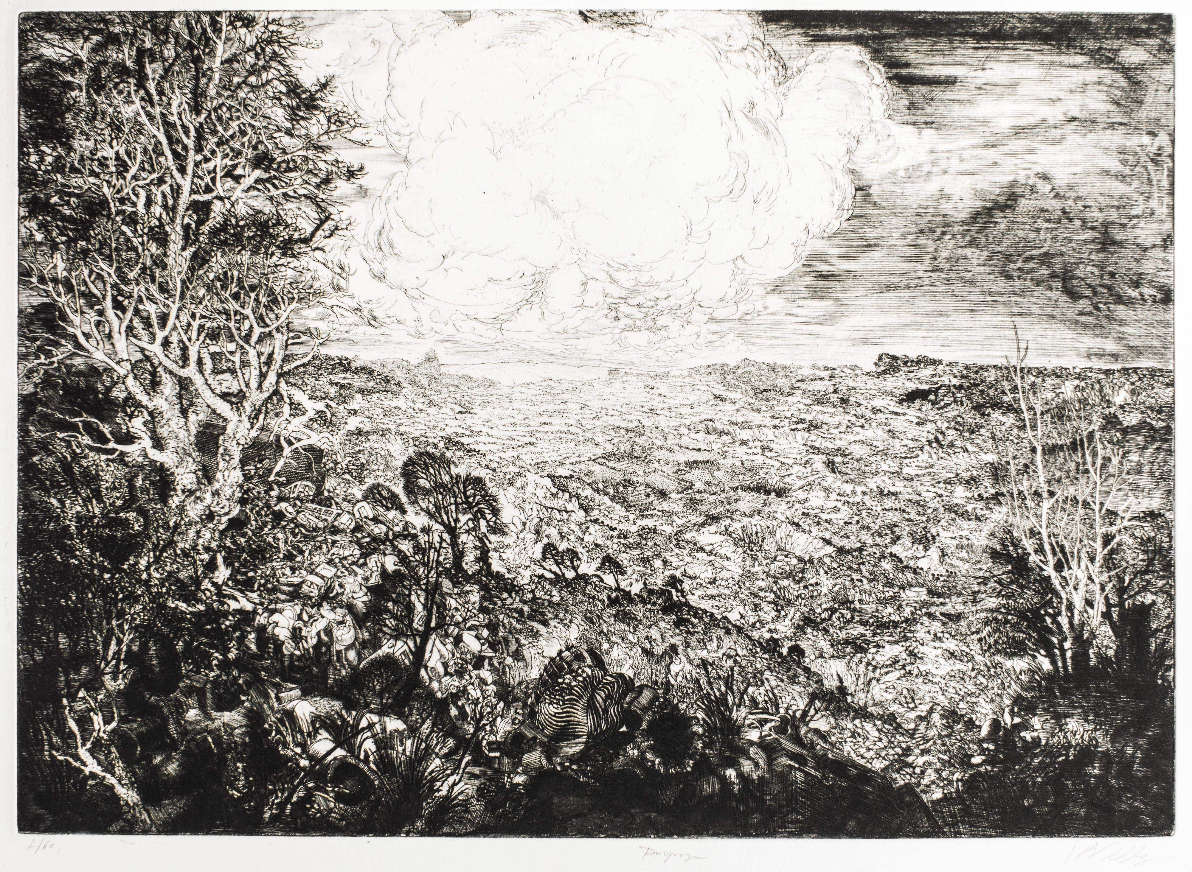 Landscape with Cars - Original Etching by J.P. Velly - 1969