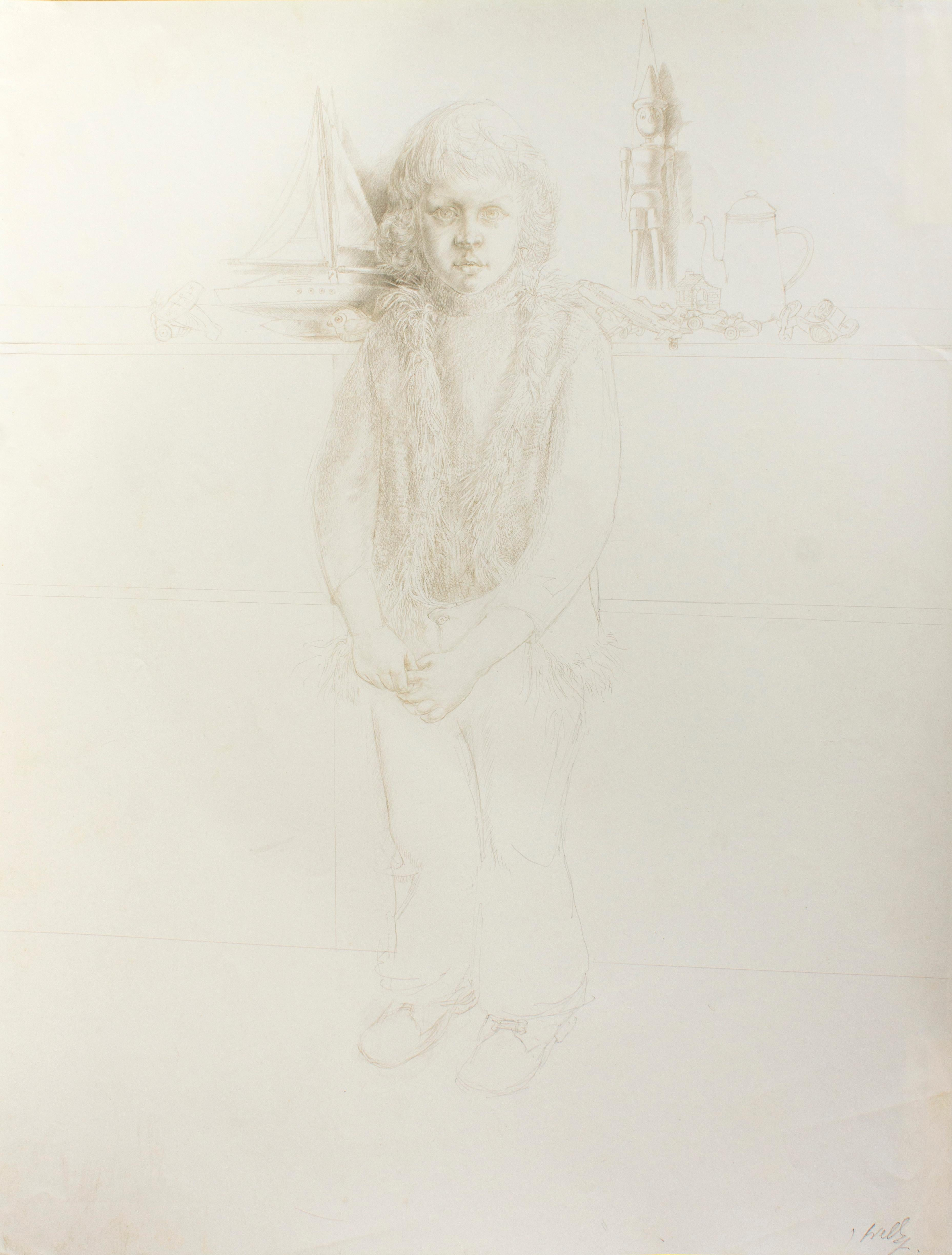 Portrait of a Child no.4 - Original Silver point by J.P. Velly - 1972