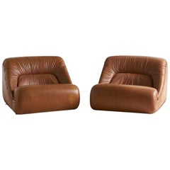 Jean Prevost Leather Lounge Chairs, Pair