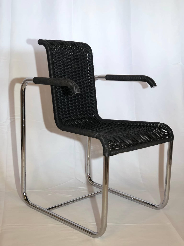 Jean Prouvé D20 Stainless Steel Leather Wicker Chairs for Tecta, Germany, 1980s For Sale 5