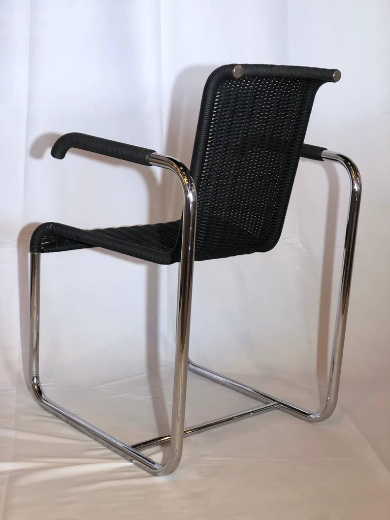 Hand-Woven Jean Prouvé D20 Stainless Steel Leather Wicker Chairs for Tecta, Germany, 1980s For Sale
