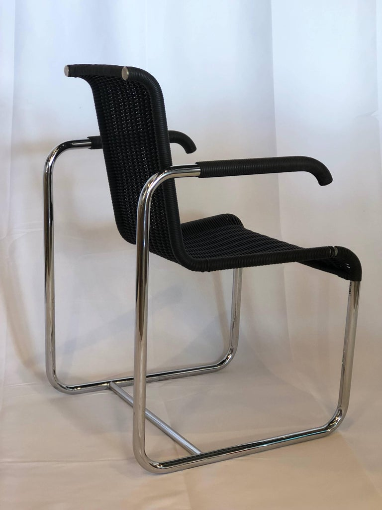 Jean Prouvé D20 Stainless Steel Leather Wicker Chairs for Tecta, Germany, 1980s In Excellent Condition For Sale In Miami, FL