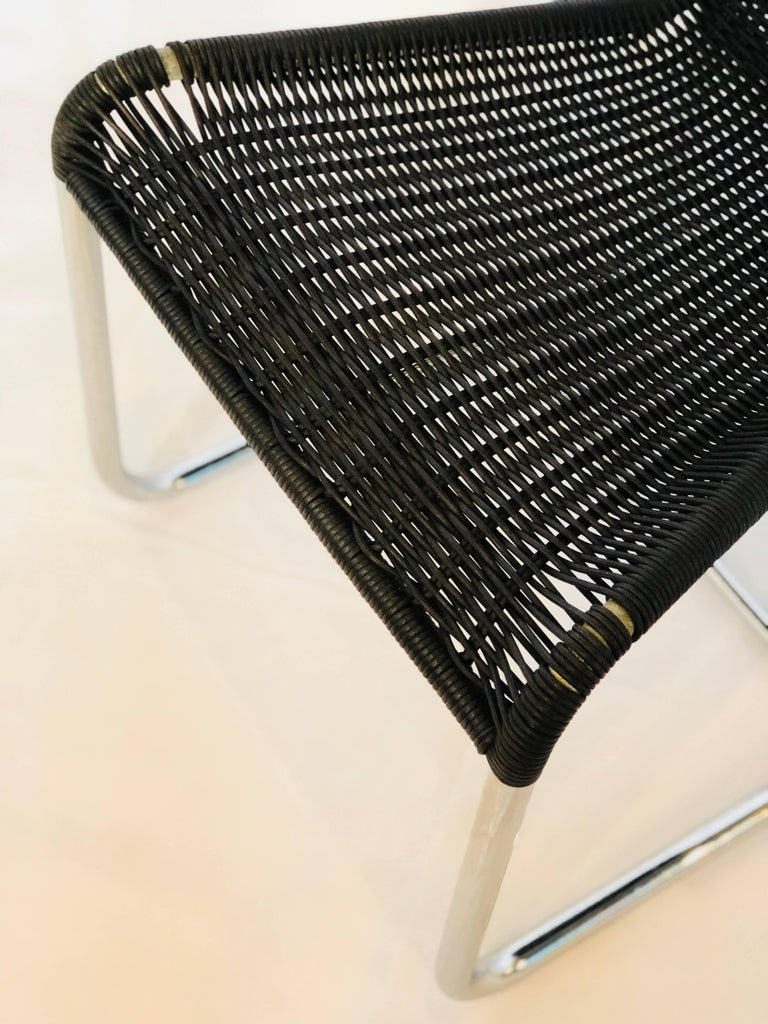 Late 20th Century Jean Prouvé D20 Stainless Steel Leather Wicker Chairs for Tecta, Germany, 1980s For Sale