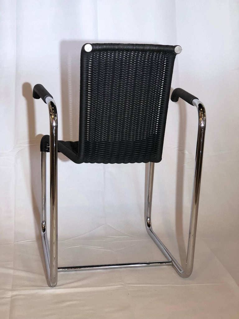 Jean Prouvé D20 Stainless Steel Leather Wicker Chairs for Tecta, Germany, 1980s For Sale 2