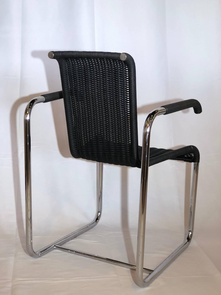 Jean Prouvé D20 Stainless Steel Leather Wicker Chairs for Tecta, Germany, 1980s For Sale 3