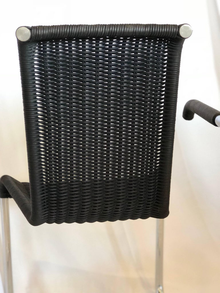 Jean Prouvé D20 Stainless Steel Leather Wicker Chairs for Tecta, Germany, 1980s For Sale 4