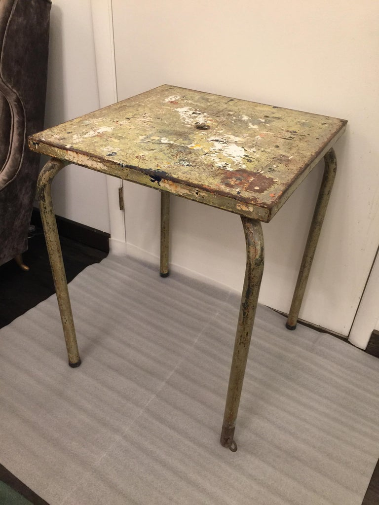 Industrial Jean Prouve Attributed Cafe Metal Table in Green For Sale