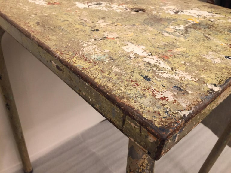 Jean Prouve Attributed Cafe Metal Table in Green In Good Condition For Sale In East Hampton, NY