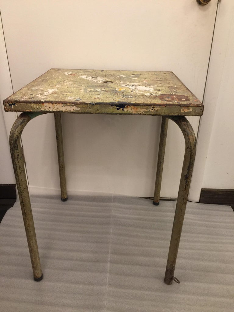 Mid-20th Century Jean Prouve Attributed Cafe Metal Table in Green For Sale