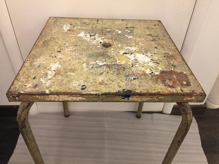Jean Prouve Attributed Cafe Metal Table in Green For Sale 1