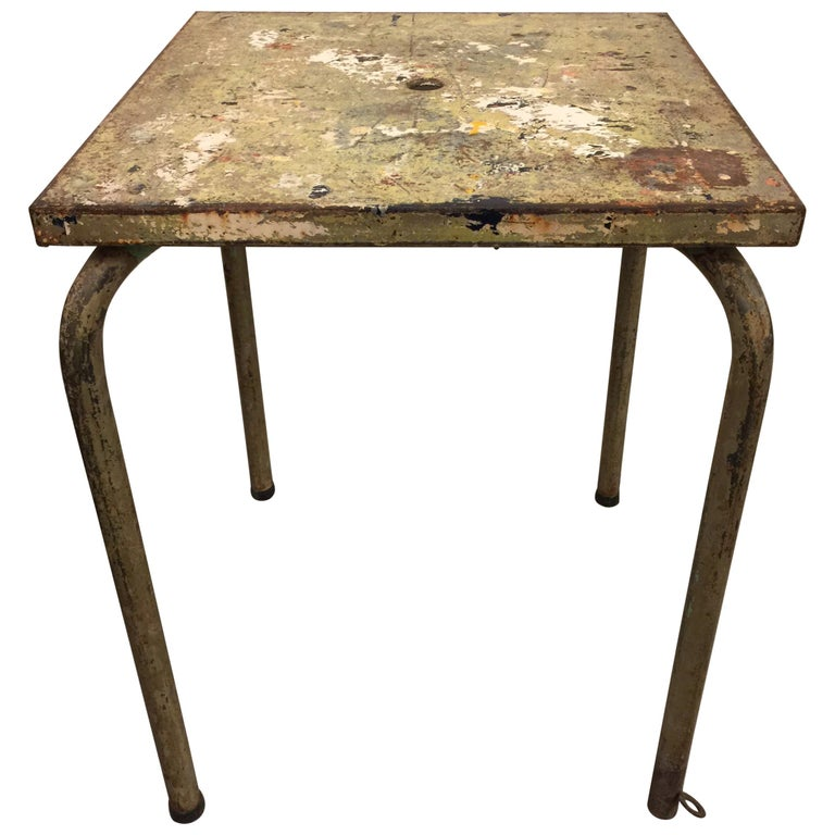 Jean Prouve Attributed Cafe Metal Table in Green For Sale