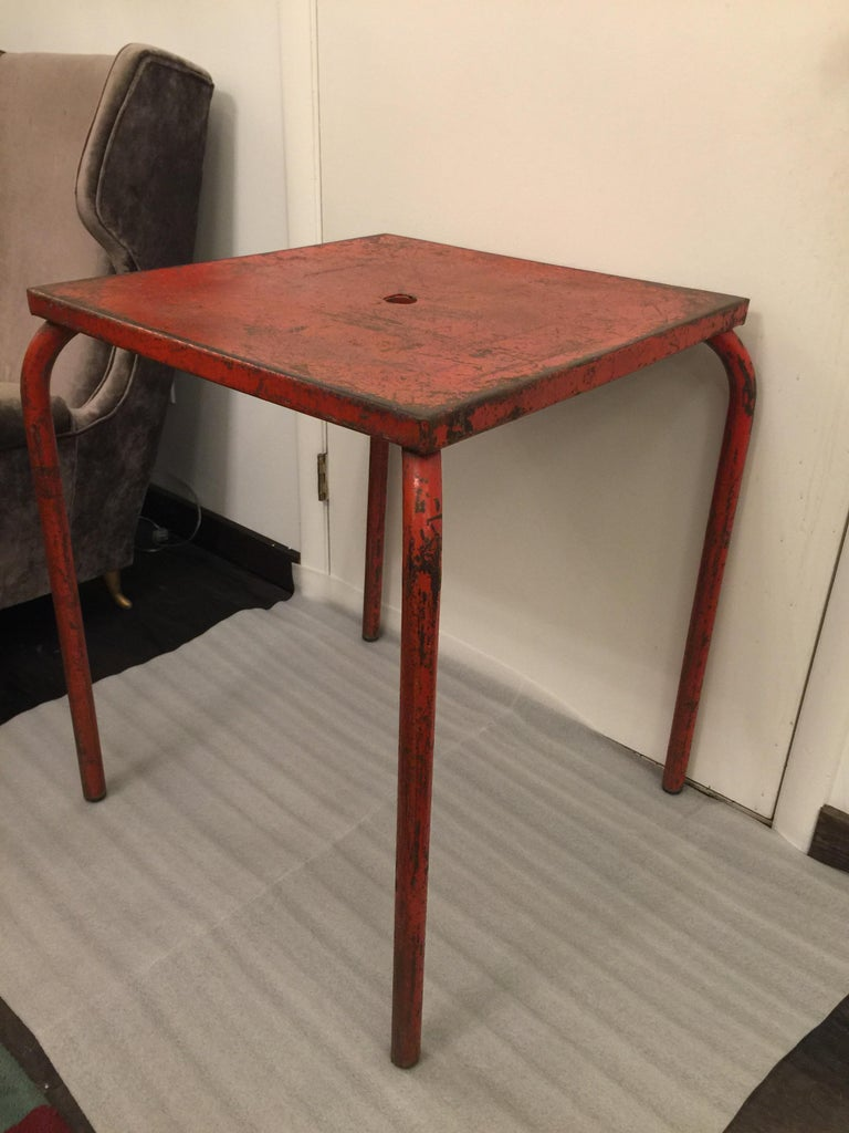 Industrial Jean Prouvé Attributed Cafe Metal Table in Original Red For Sale