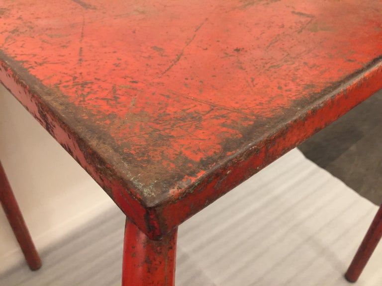 French Jean Prouvé Attributed Cafe Metal Table in Original Red For Sale