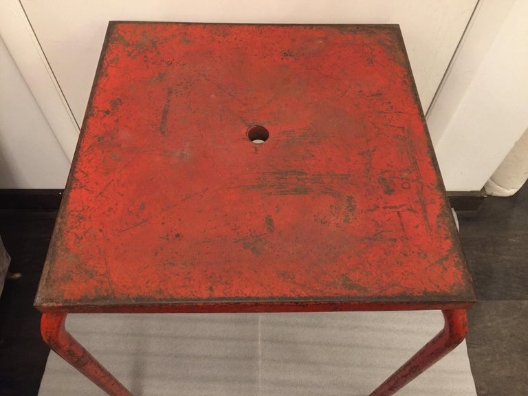 Jean Prouvé Attributed Cafe Metal Table in Original Red In Good Condition For Sale In East Hampton, NY