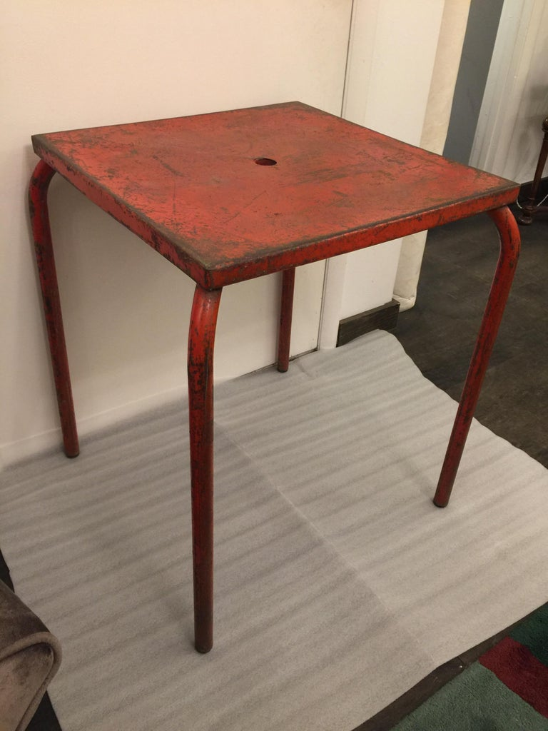 Mid-20th Century Jean Prouvé Attributed Cafe Metal Table in Original Red For Sale