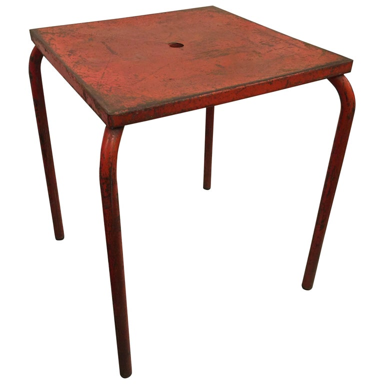 Jean Prouvé Attributed Cafe Metal Table in Original Red For Sale