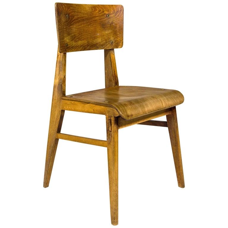 Jean Prouvé Chaise En Bois Wooden Standard Chair France Circa