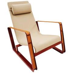Jean Prouve Cité Armchair - Beige upholstery Japanese Red Base