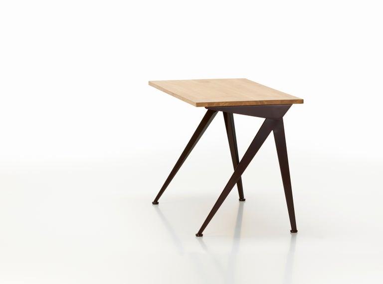 Jean Prouvé Compas Richtung Schreibtisch in Eiche Natur und Schwarz Metall für Vitra 20