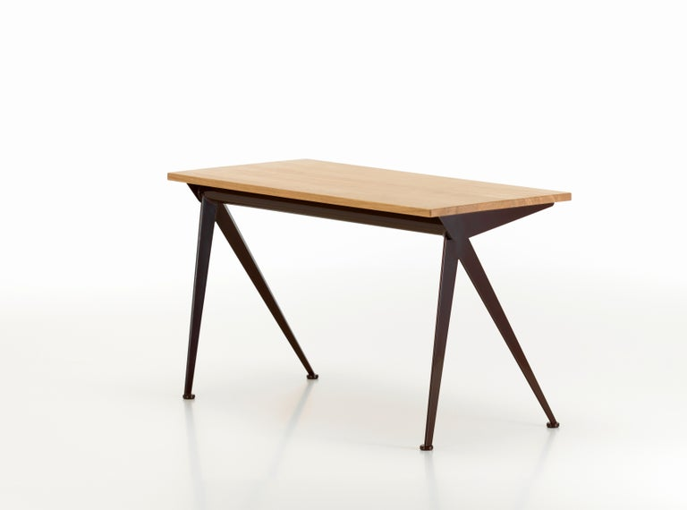 Jean Prouvé Compas Direction Desk in Natural Oak and Brown Metal for Vitra 3