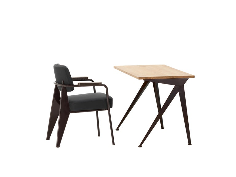 Jean Prouvé Compas Direction Desk in Natural Oak and Brown Metal for Vitra 4