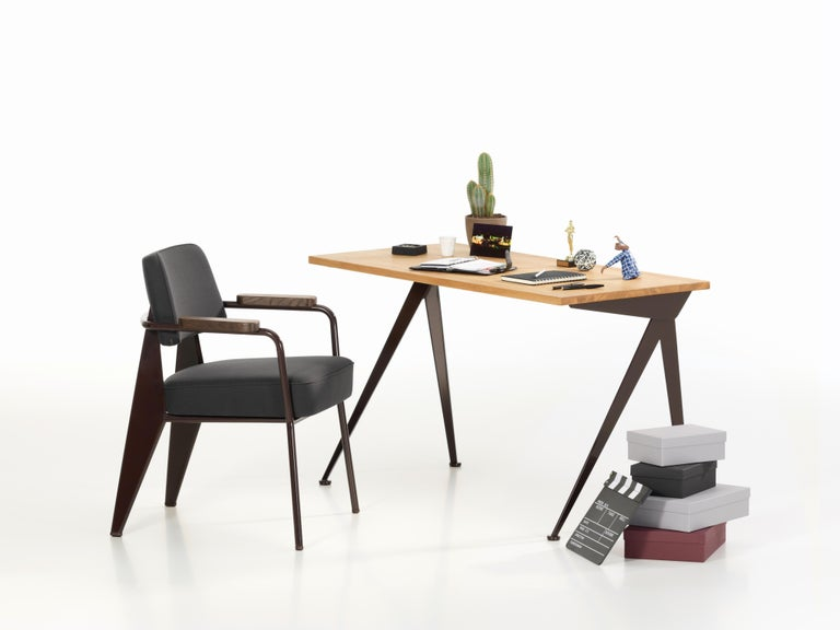 Jean Prouvé Compas Direction Desk in Natural Oak and Brown Metal for Vitra 5