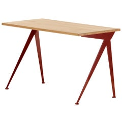 Jean Prouvé Compas Direction Desk in Natural Oak and Red Metal for Vitra