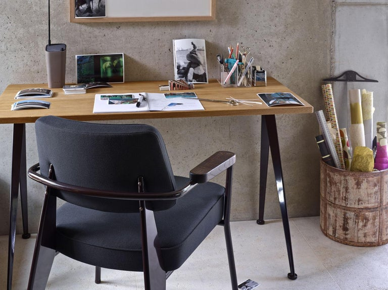 Mid-Century Modern Jean Prouvé Compas Direction Desk in Wood and Metal by Vitra