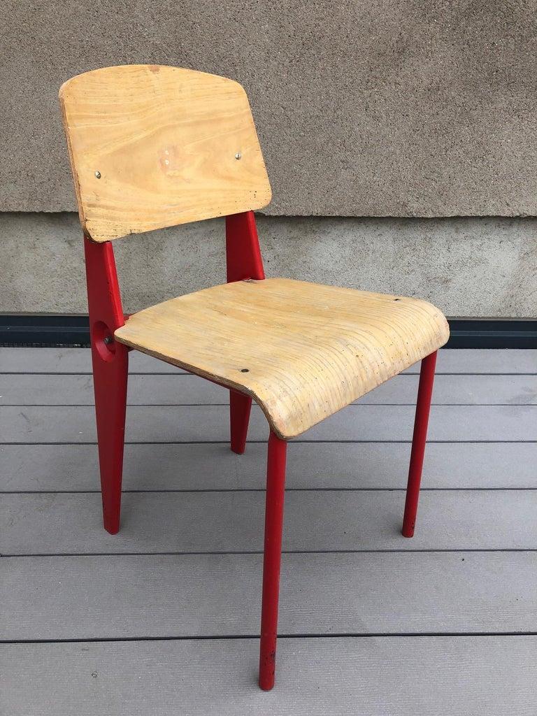 Enamel Jean Prouvé Demountable Chair # 300 For Sale