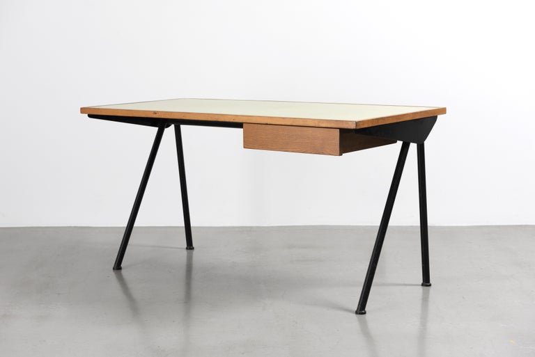Laminated Jean Prouvé, Desk with Compas Base, Variant with Tube Legs, 1955 For Sale