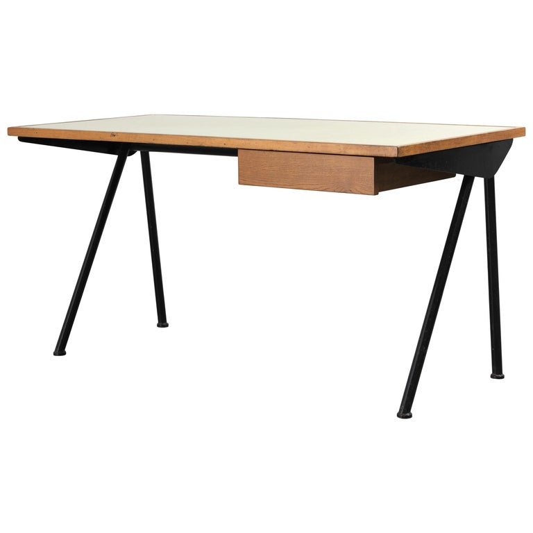 Jean Prouvé, Desk with Compas Base, Variant with Tube Legs, 1955 For Sale