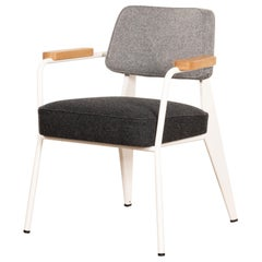 Jean Prouvé Fauteuil Direction in White and Grey wool by Vitra