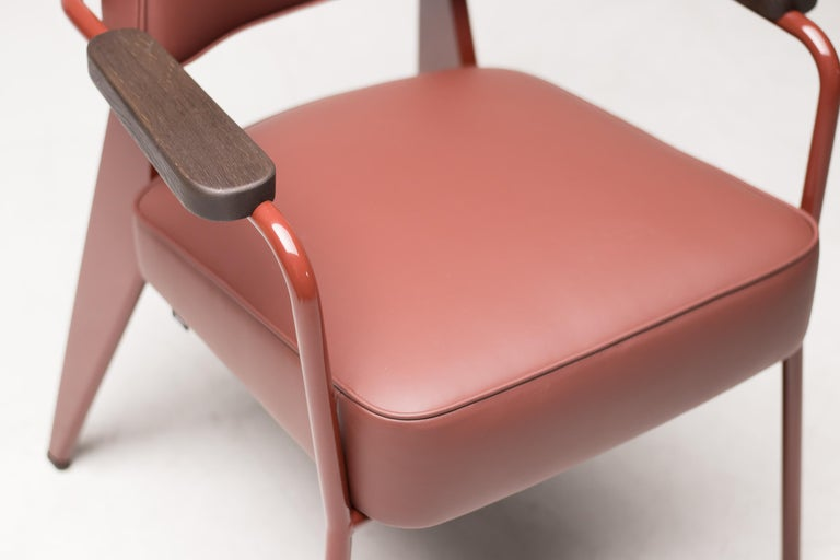 Mid-Century Modern Jean Prouvé Fauteuil Direction, Japanese Red For Sale