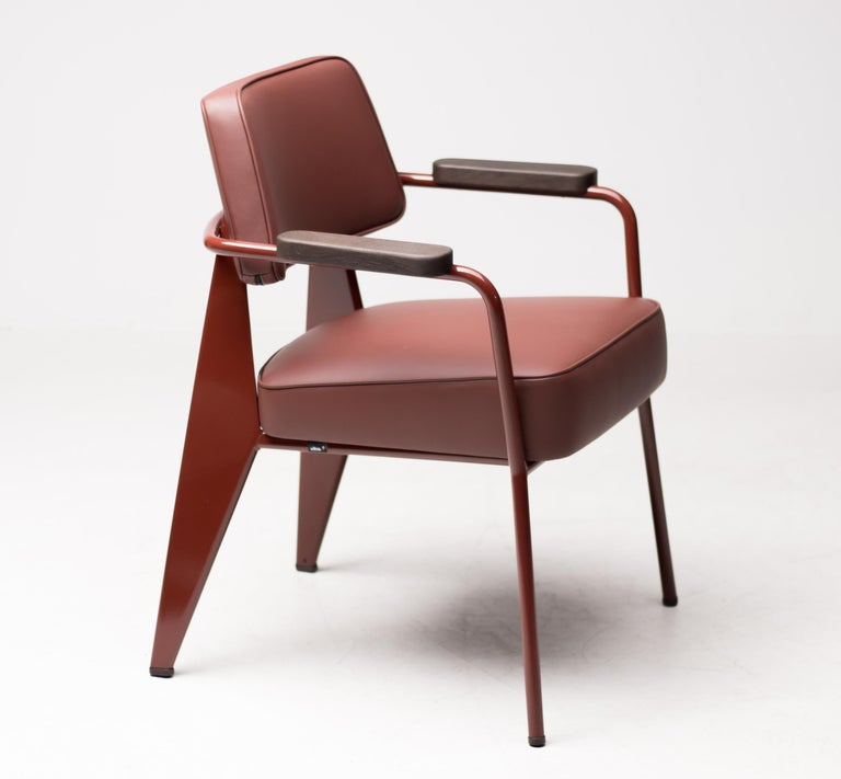 French Jean Prouvé Fauteuil Direction, Japanese Red For Sale