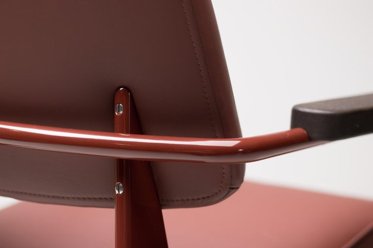 Mid-20th Century Jean Prouvé Fauteuil Direction, Japanese Red For Sale