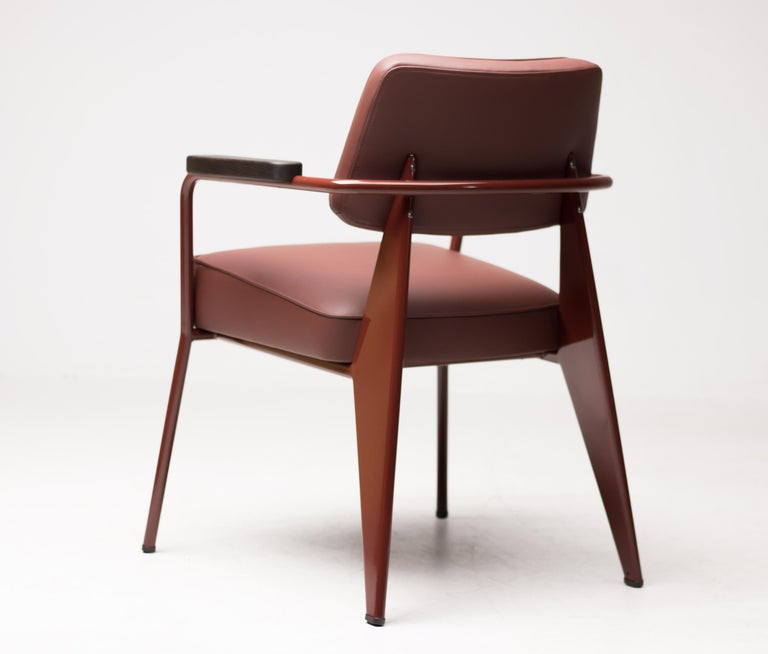 Steel Jean Prouvé Fauteuil Direction, Japanese Red For Sale