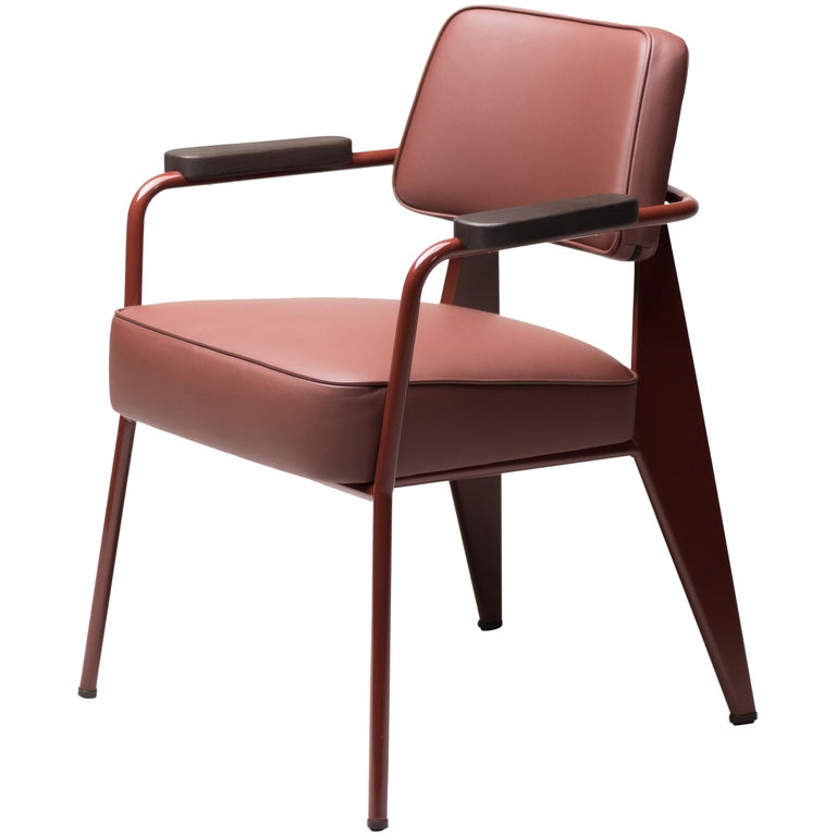 Jean Prouvé Fauteuil Direction, Japanese Red For Sale