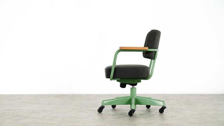 German Jean Prouvé, Fauteuil Direction Pivotant 1951 Limited RAW Office Edit, Chair For Sale