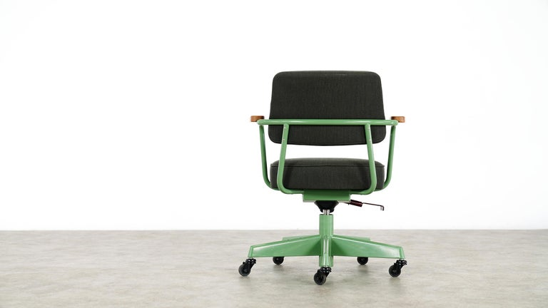 Steel Jean Prouvé, Fauteuil Direction Pivotant 1951 Limited RAW Office Edit, Chair For Sale