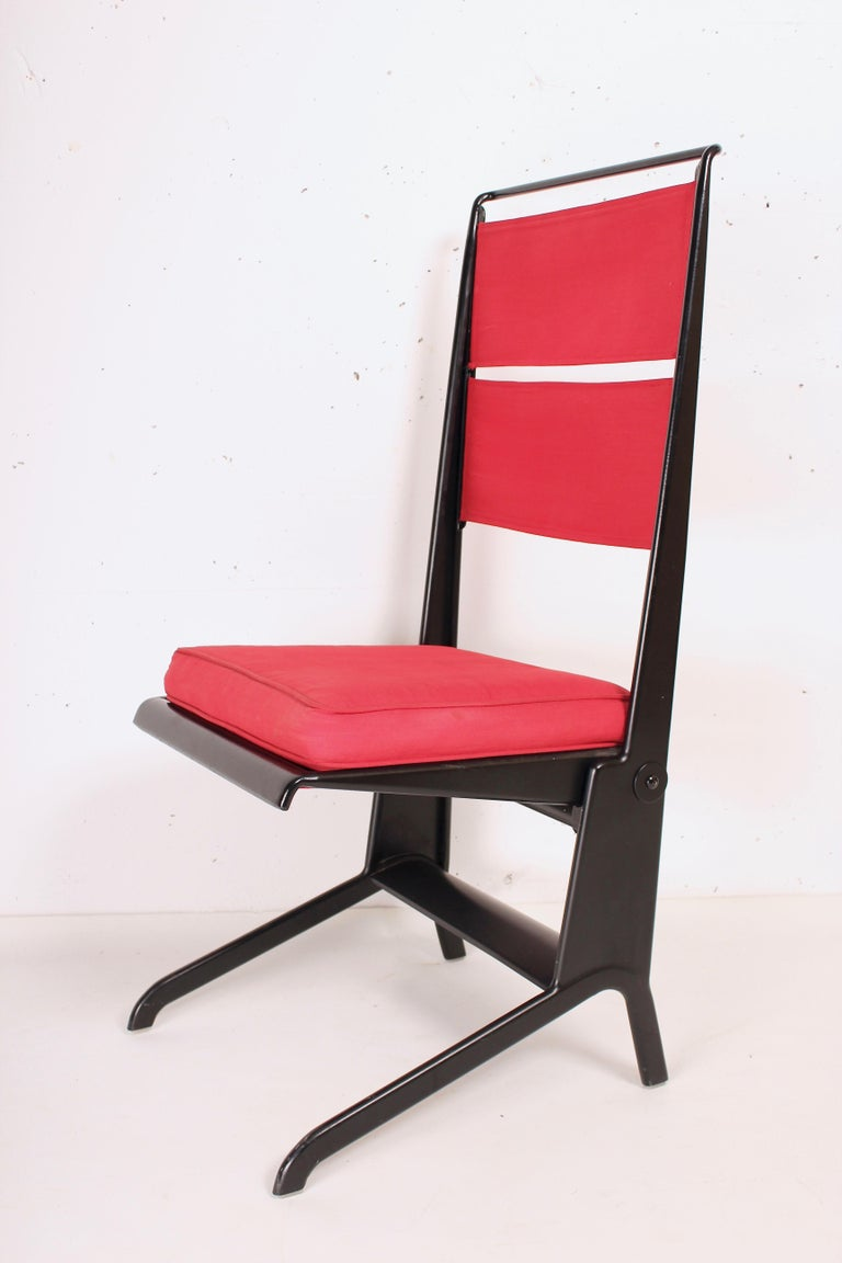 Jean Prouve´, reclining chairs, steel and canvas, France, design circa 1930, manufactured by Tecta, 1983