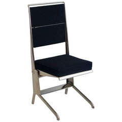 Jean Prouvé Folding Chair with Steel Frame and Black Upholstery