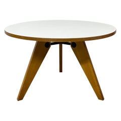 Jean Prouve 'Gueridon' Round Dining Table with White Laminate Top for Vitra
