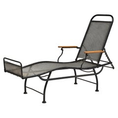 Jean Prouvé Inspired Adjustable Chaise Longue in Black Metal and Wood