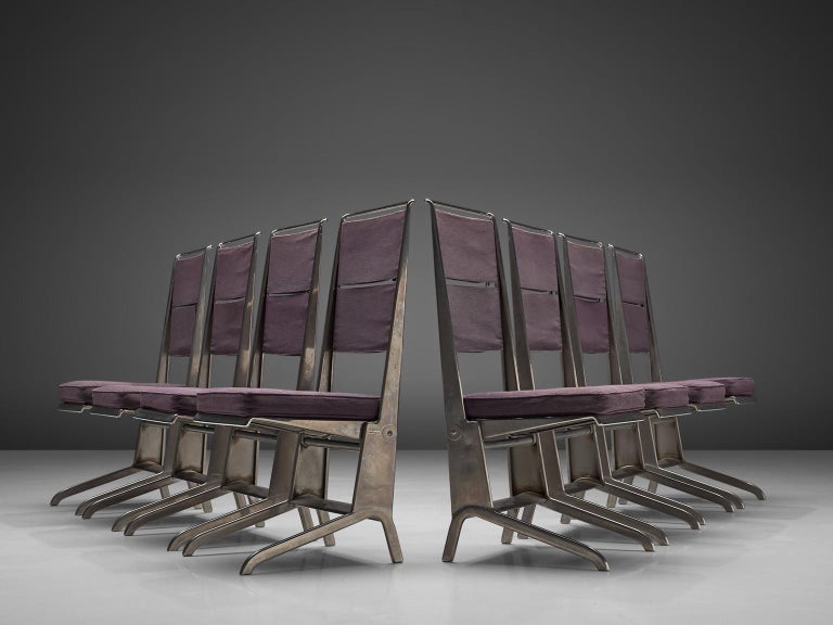 Jean Prouvé for Tecta, reclining chairs, steel and canvas, France, design circa 1930, production, 1983.  This extremely rare set of chairs was designed by Jean Prouvé in 1930. Originally only eight of these were produced, for Prouvé's sister. In