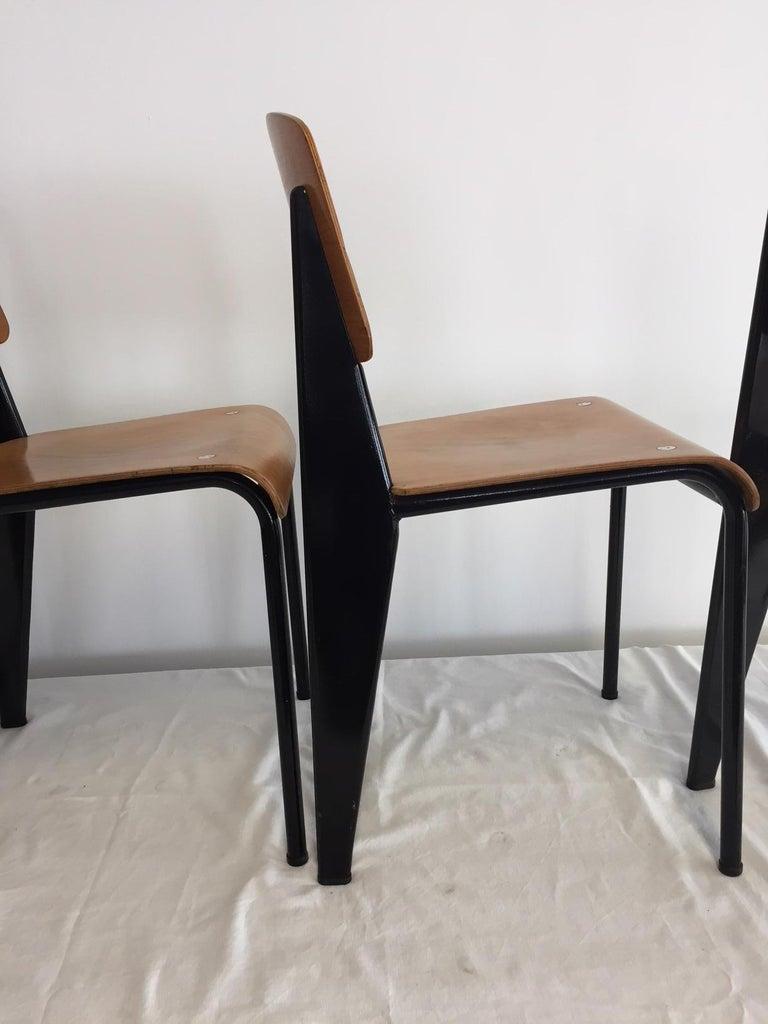 Jean Prouvé Semi-Metal No. 305 Chairs Color Black Set of 4 For Sale 2