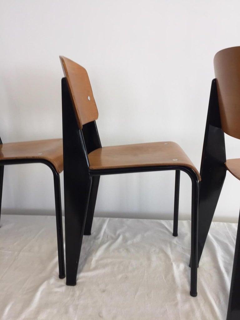 Jean Prouvé Semi-Metal No. 305 Chairs Color Black Set of 4 For Sale 3