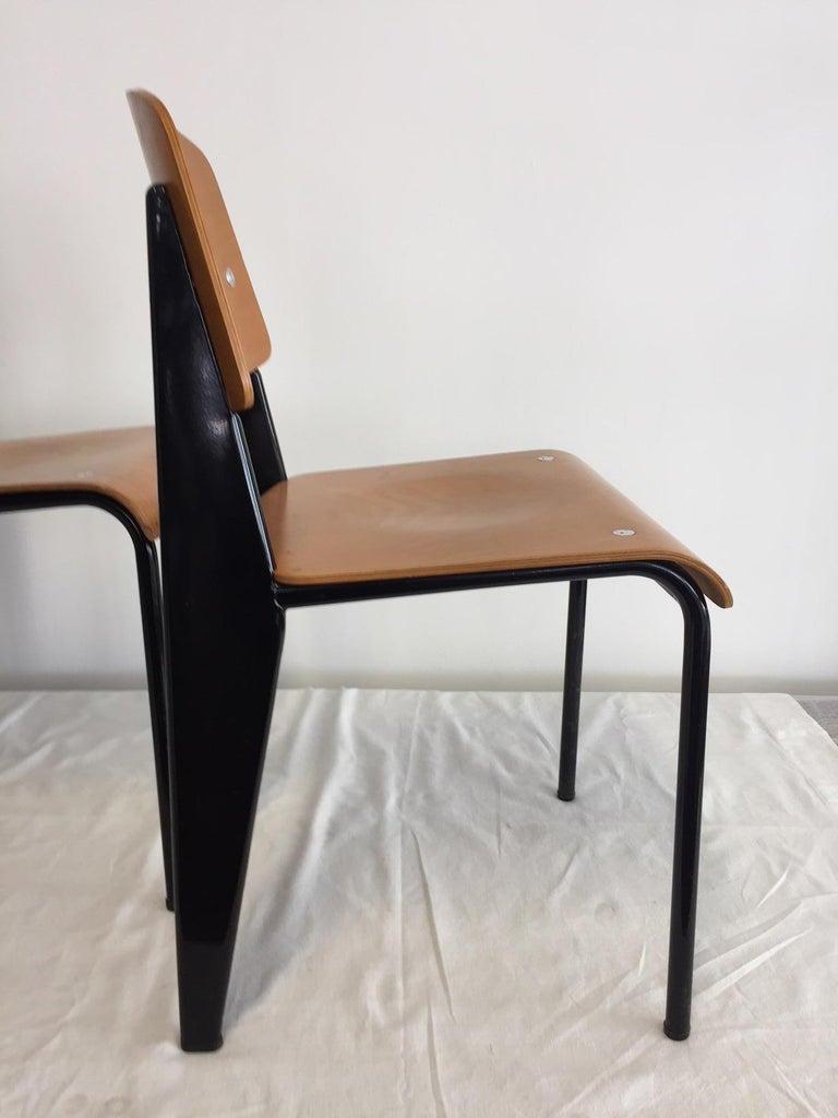 Jean Prouvé Semi-Metal No. 305 Chairs Color Black Set of 4 For Sale 4